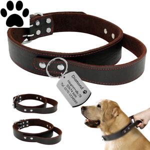 ID Echtleder Halsband mit Griff + DogTag mit Gravur nach Wunsch für große Hunde
