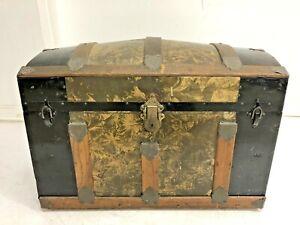Vintage STEAMER TRUNK storage chest camelback humpback brown antique box gold