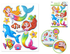 MERMAIDS wall stickers 8 colorful 3-D pop-up decals dolphin fish shells Sea Life