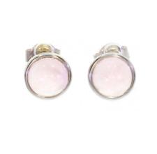 Earrings Studs Stone Quartz Pink & Solid Silver Rhodium 925/1000