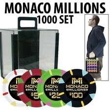 Monaco Millions Casino Poker Chip Set 1000 Poker Chips Rack and Acrylic Carrier