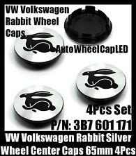 NEW~ VW Volkswagen Rabbit Chrome Silver Wheel Center Caps 65mm 3B7 601 171 4Pcs