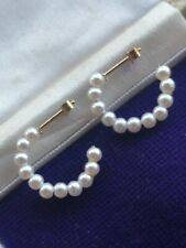 Vintage 9 Carat Gold Faux Pearl Creole Hoop Earrings Gift Wrapped Christmas