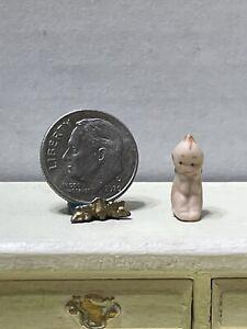 Vintage Artisan Tiny Bisque Kewpie Doll Sitting Dollhouse Miniature 1:12