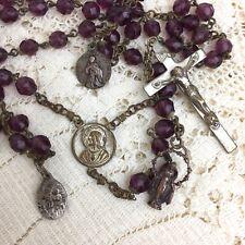 Vintage Rosary Crucifix Cross Purple Amethyst Facet Cut Beads Bronze Medallions