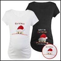 Christmas Maternity Baby Peeking T-Shirt Pregnant Women Tops Mommy Funny Gift US