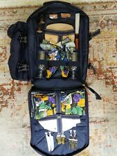 New listing Picnic at Ascot Deluxe Equipped 2 Person Blue Picnic Backpack with Cooler