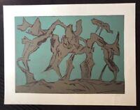 Heinrich Modersohn, Der gekrümmte Raum, Farbholzschnitt, 1987, handsigniert