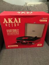 Akai Red Retro A60011NR Bluetooth Rechargeable Record Vinyl Player