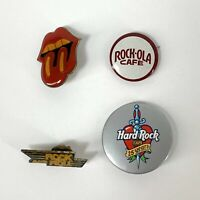 Vintage Rock and Roll Pin Lot of 4 Rolling Stones Tongue Hard Rock Cafe Rock-Ola