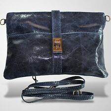 Clutch Abendtasche Schultertasche Umhänge Tasche Leder Handtasche Blau 1