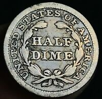 1852 Seated Liberty Half Dime 5C High Grade Details Good US Silver Coin CC3742