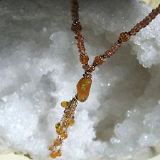orange padparadscha  saphir Y-kette mit äthiopien opal, 44 cm, opale ca 4 ct