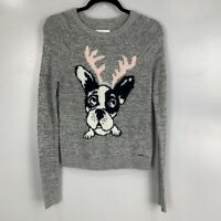 Abercrombie & Fitch Wool Blend Frenchie Bull Dog Reindeer Pullover Sweater Sz S
