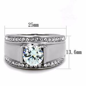1.4Ct Round Cut CZ Raised 316 Stainless Steel Mens Wedding Anniversary Ring