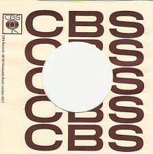 FIRMENLOCHCOVER * CBS * creme/braun *UK* Repro COVER * NEU * SINGLE AUFWERTUNG!