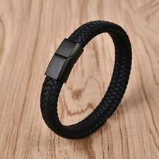 Mens Womens Flat Leather Braided Wristband Bracelet Stainless Steel Clasp