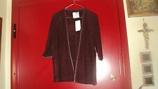 MANGO ZARA GROUP WINE RED JACKET SOFT REAL SUEDE AND LEATHER TRIM 3/4 SLEEVES*L