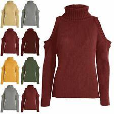 Women Roll Turtle Neck Cold Shoulder Ladies Knitted Chunky Hi Lo Pullover Jumper