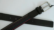Paul Smith Leather Belt Size 34 Multi Stripes Canvas