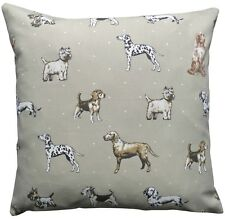 Dog Collection Print Natural Beige Cushion Cover