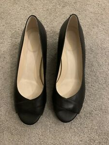 NWOB Cole Haan Grand Woman's Black Peep Toe Wedge Heel Pumps Sz 10