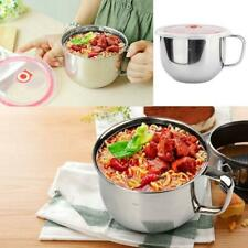 Stainless Steel Noodle Bowl with Lid Handle Leak-Proof Food Container Rice Soup