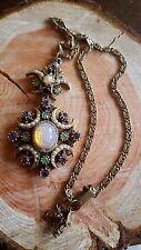 FLORENZA Necklace  Opal Foil Cabs and sparkling Rhinestones read description