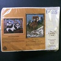 Creative Circle Peking Pandas Longstitch Embroidery Kit #1425 NOS Vtg 1987 8x10