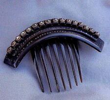 ANTIQUE VICTORIAN HAIR COMB -GUTTA PERCHA CUT STEEL AND BRASS Ca 1860