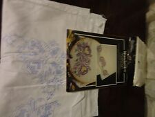 "WONDERART WHITE PAIR PILLOWCASES WITH STAMP DESIGN FOR EMBROIDERY 20"" X  30"""