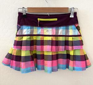 Lululemon Run Pace Setter Skirt Sea Check Multi Plum Size 2 Built In Shorts