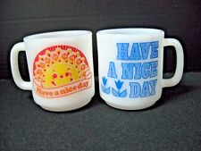 Lot 2 HAVE A NICE DAY orange blue GLASBAKE milk glass coffee mugs