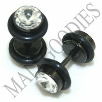 0290 Fake Cheaters Faux Illusion Plugs 16G Look 2G 6mm Steel Black Clear CZ
