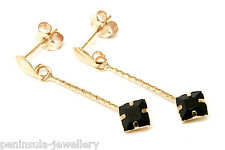 9ct Gold Black CZ Drop earrings Made in UK Gift Boxed