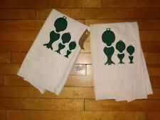 New listing Vintage pair of cotton Cloth, hand painted,Tea Towels, whites, with lanterns