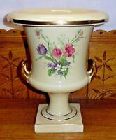 "Vintage The Trenton Potteries NJ Floral Porcelain 2 Handle Urn Vase - 11 3/4"""