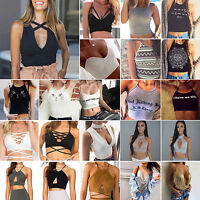 Women's Crop Top Sleeveless Summer Casual Tank Tops Vest Blouse T Shirt Bralette