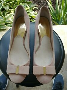 Women's MK Michael Kors Block Heel Pump, size 10M Blush Leather Shoe