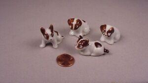Vintage Miniature 4 Dog puppy porcelain figurines figures Japan Dollhouse Pets