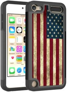 For iPod Touch 5th 6th 7th Gen - HARD HYBRID ARMOR IMPACT CASE USA AMERICAN FLAG