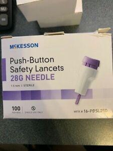 McKesson PUSH-BUTTON  SAFETY LANCET  28G NEEDLE 1.5MM STERILE 100 CT.