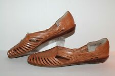Brass Plum Jessie Huarache Sandals, Vintage, Tan, Leather, Women's Us Size 11