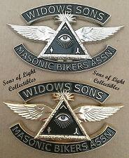 SILVER Widows Sons Masonic Bikers Association Emblem auto motorcycle Mason WS