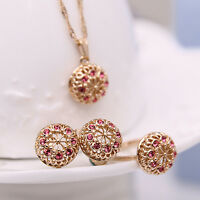 EG_ WOMEN'S ROUND FLOWER PENDANT NECKLACE EARRINGS RING WEDDING JEWELRY SET USEF