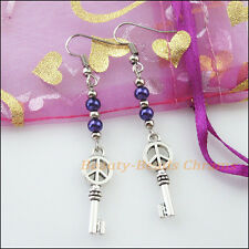 Winsome Silver Retro Key Purple Glass Dangle Hook Earrings Women Jewelry
