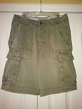 Hollister Men's Army Green 100% Cotton Button Fly Distressed Cargo Shorts sz 30