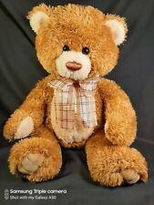 """Aurora Brown Sugar Teddy Bear 15"""" Plush Auburn Stuffed Animal in Plaid Neck Bow"""