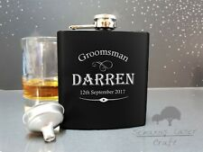 Personalised Engraved 6oz Black Hip Flask.best man gift Boxed bhf48