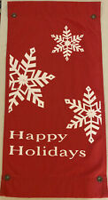 Vintage Red Happy Holidays Winter Snowflakes Christmas Cotton Duck Fabric Banner
